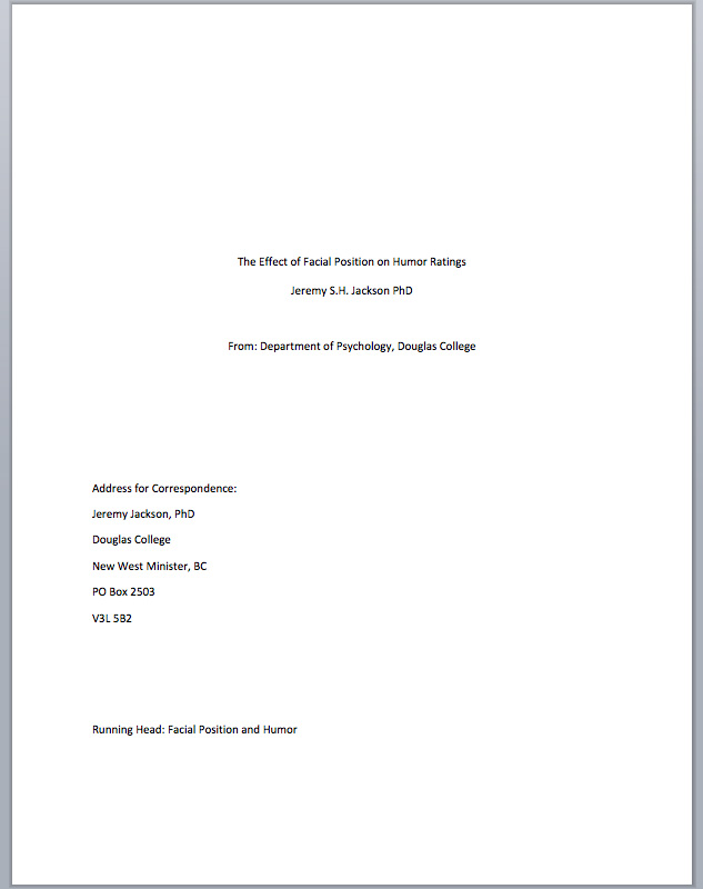 first page of apa paper